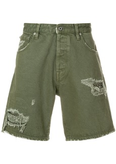 Just Cavalli distressed utility shorts - Green