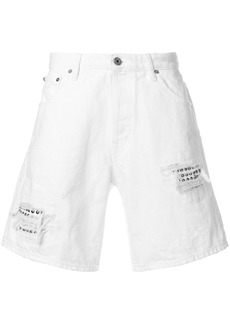 Just Cavalli distressed utility shorts - White