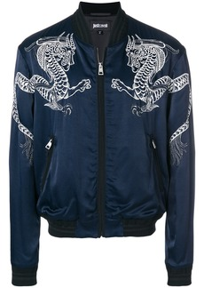 Just Cavalli dragon embroidered bomber jacket - Blue
