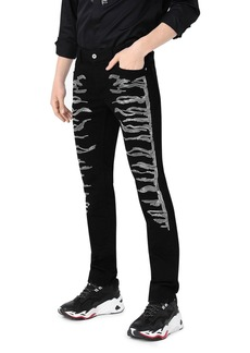 Just Cavalli Embroidered Iconic Slim Fit Jeans in Black Denim