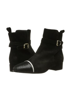 Just Cavalli Laminated Crackle Low Heel Ankle Bootie