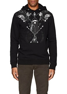 Just Cavalli Men's Bird-Print Cotton Fleece Hoodie