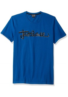 Just Cavalli Mens Blue Signature Tee Spectrum M