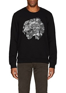 Just Cavalli Men's Cat-Print Cotton Sweatshirt