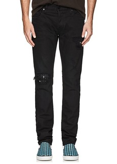 Just Cavalli Men's Distressed Skull-Stud Slim Jeans