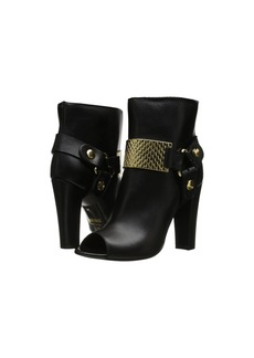 Just Cavalli Peep Toe Bootie with Gold Hardware