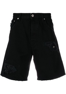 Just Cavalli ripped denim shorts - Black