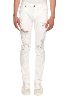 Just Cavalli Slim Distressed-Denim Biker Jeans