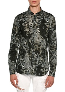 Just Cavalli Snakeskin Print Stretch-Cotton Shirt