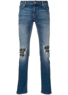 Just Cavalli stud embellished knee patch jeans