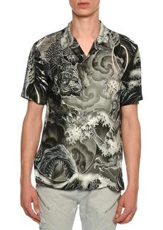 Just Cavalli Tiger & Dragon Print Sport Shirt