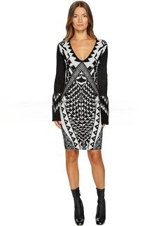 Just Cavalli Tribal Knit Long Sleeve Dress