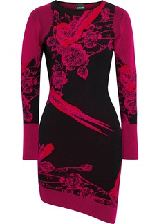 Just Cavalli Woman Asymmetric Jacquard-knit Mini Dress Fuchsia