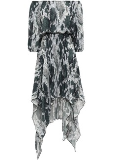 Just Cavalli Woman Asymmetric Off-the-shoulder Snake-print Crepe De Chine Dress Animal Print
