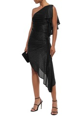 Just Cavalli Woman Asymmetric One-shoulder Metallic Jersey Dress Black