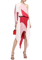 Just Cavalli Woman Asymmetric Pleated Color-block Crepe De Chine Skirt Baby Pink