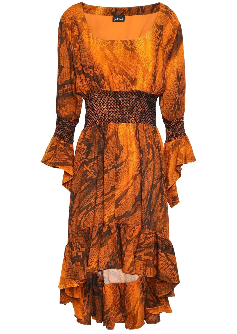 Just Cavalli Woman Asymmetric Smocked Snake-print Crepe Dress Orange