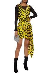 Just Cavalli Woman Asymmetric Wrap-effect Printed Satin Mini Dress Yellow