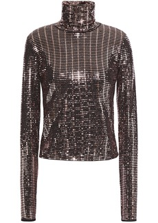 Just Cavalli Woman Bead-embellished Jersey Turtleneck Top Rose Gold