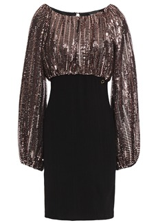 Just Cavalli Woman Bead-embellished Textured-jersey Mini Dress Black