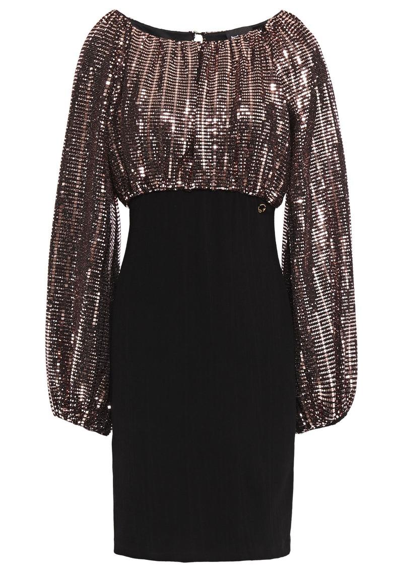Just Cavalli Woman Bead-embellished Textured-jersey Mini Dress Black