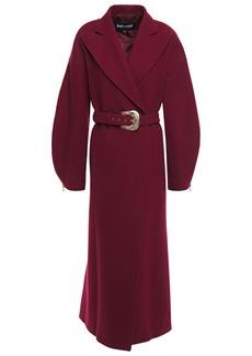 Just Cavalli Woman Belted Brushed Wool-blend Felt Coat Plum