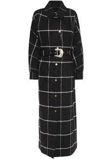 Just Cavalli Woman Belted Checked Brushed-felt Coat Black