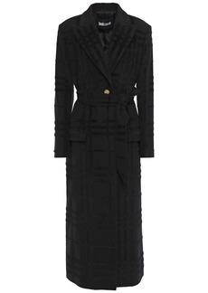 Just Cavalli Woman Belted Fil Coupé Brushed-felt Coat Black