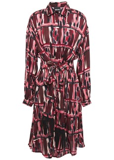 Just Cavalli Woman Belted Printed Cady Shirt Dress Plum