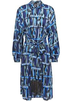 Just Cavalli Woman Belted Printed Cady Shirt Dress Indigo