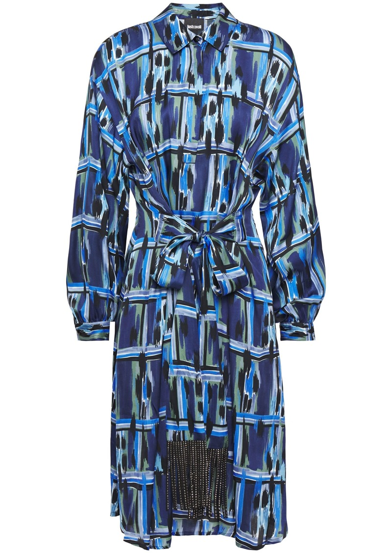 Just Cavalli Woman Belted Printed Cady Shirt Dress Indigo