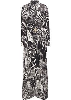 Just Cavalli Woman Belted Printed Crepe Maxi Dress Animal Print