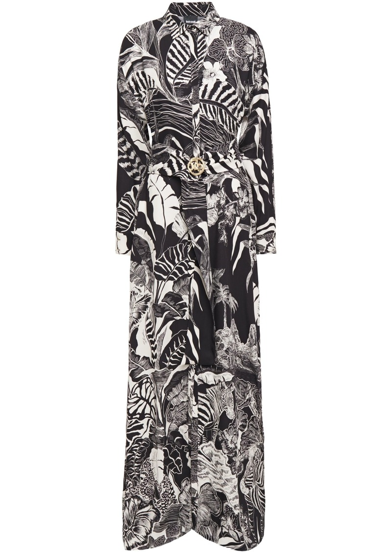 Just Cavalli Woman Belted Printed Crepe Maxi Dress Animal Print