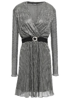 Just Cavalli Woman Belted Wrap-effect Lamé Dress Silver