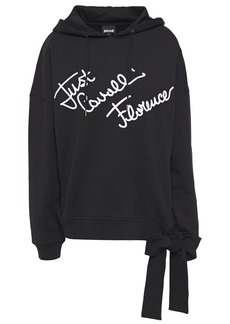 Just Cavalli Woman Bow-detailed Embroidered French Cotton-terry Hoodie Black