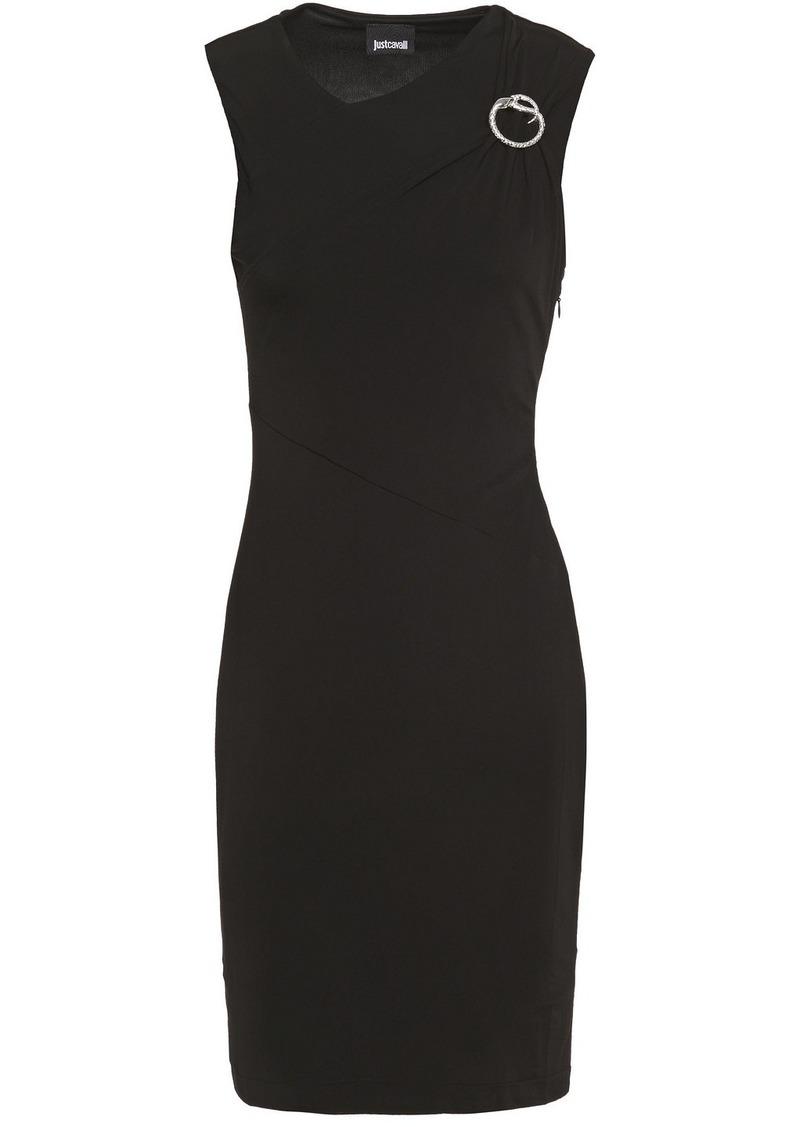 Just Cavalli Woman Buckle-embellished Stretch-jersey Mini Dress Black