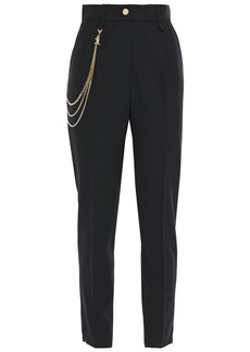 Just Cavalli Woman Chain-embellished Crepe Tapered Pants Black