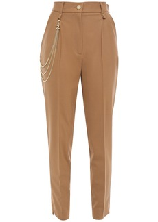Just Cavalli Woman Chain-embellished Crepe Tapered Pants Camel