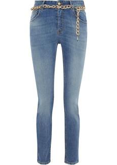 Just Cavalli Woman Chain-embellished Mid-rise Slim-leg Jeans Mid Denim