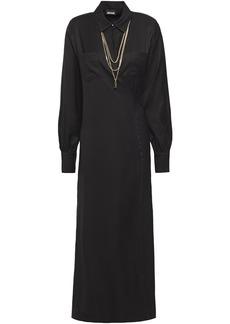 Just Cavalli Woman Chain-embellished Twill Midi Wrap Dress Black