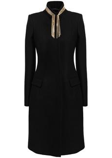 Just Cavalli Woman Chain-embellished Wool-blend Felt Coat Black