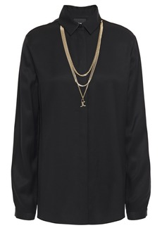 Just Cavalli Woman Chain-trimmed Twill Shirt Black