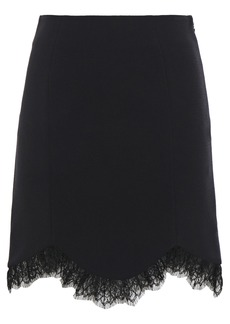 Just Cavalli Woman Chantilly Lace-trimmed Crepe Mini Skirt Black