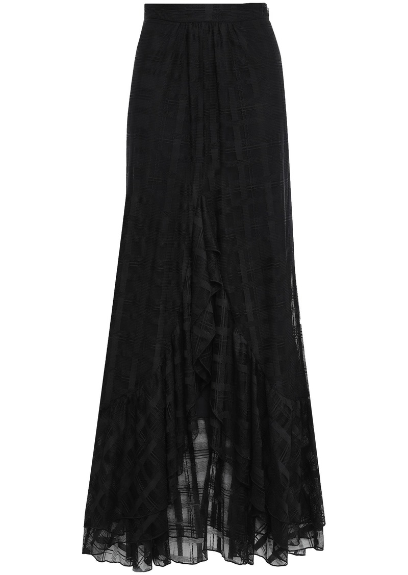 Just Cavalli Woman Checked Lace Maxi Skirt Black