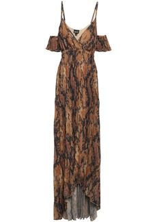 Just Cavalli Woman Cold-shoulder Snake-print Plissé-crepe Gown Animal Print