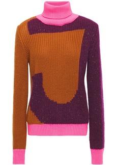 Just Cavalli Woman Color-block Intarsia-knit Turtleneck Sweater Multicolor