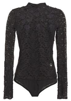 Just Cavalli Woman Cotton-blend Macramé Lace And Mesh Bodysuit Black