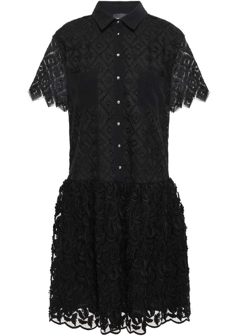 Just Cavalli Woman Crochet And Fil Coupé Chiffon Mini Dress Black