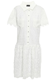 Just Cavalli Woman Crochet And Fil Coupé Chiffon Mini Dress White