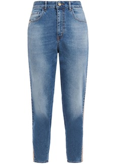 Just Cavalli Woman Cropped Faux Leather-trimmed Faded Boyfriend Jeans Mid Denim